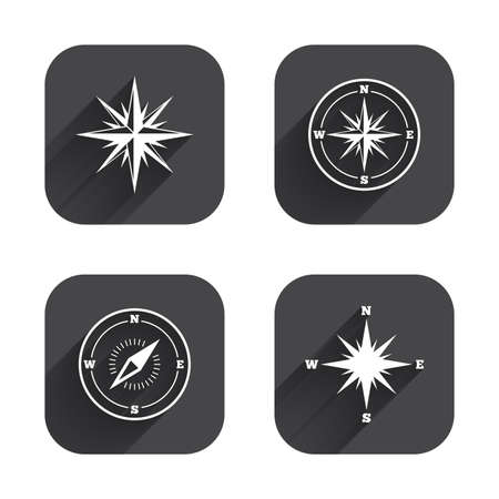coordinate: Windrose navigation icons. Compass symbols. Coordinate system sign. Square flat buttons with long shadow.