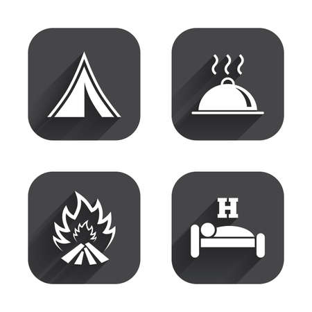 breakfast in bed: Hot food, sleep, camping tent and fire icons. Hotel or bed and breakfast. Road signs. Square flat buttons with long shadow. Illustration