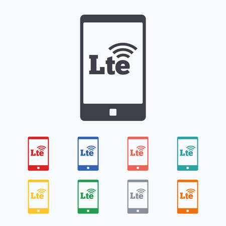 longterm: 4G LTE sign in smartphone icon. Long-Term evolution sign. Wireless communication technology symbol. Colored flat icons on white background. Illustration