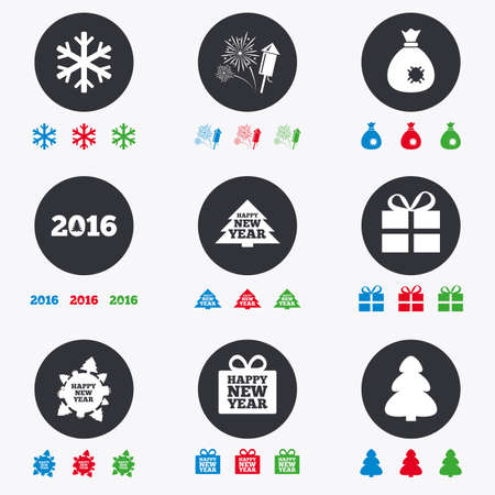 salut: Christmas, new year icons. Gift box, fireworks and snowflake signs. Santa bag, salut and rocket symbols. Flat circle buttons with icons.
