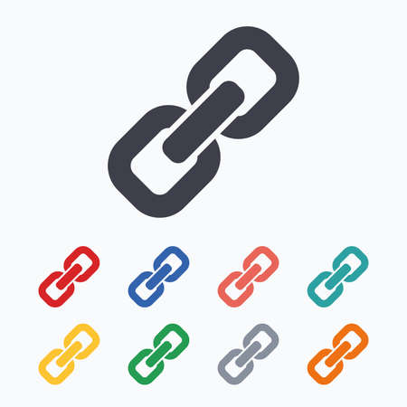 hyperlink: Link sign icon. Hyperlink chain symbol. Colored flat icons on white background.