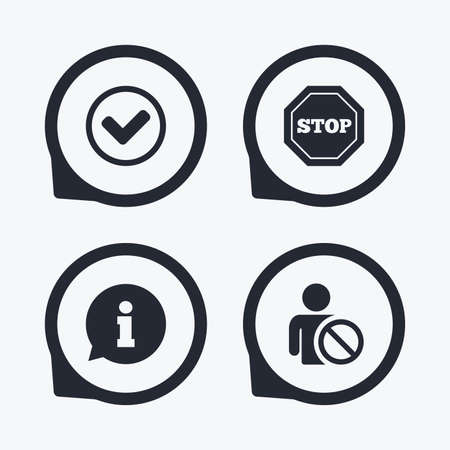 blacklist: Information icons. Stop prohibition and user blacklist signs. Approved check mark symbol. Flat icon pointers.