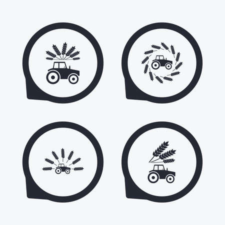 agricultural industry: Tractor icons. Wreath of Wheat corn signs. Agricultural industry transport symbols. Flat icon pointers.
