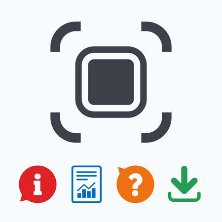 autofocus: Autofocus zone sign icon. Photo camera settings. Information think bubble, question mark, download and report. Illustration