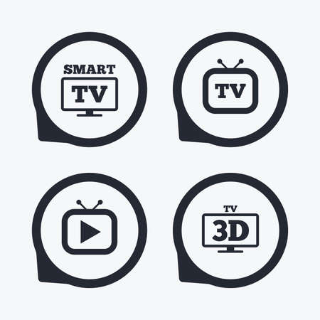 3d mode: Smart 3D TV mode icon. Widescreen symbol. Retro television and TV table signs. Flat icon pointers.