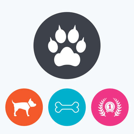 clutches: Pets icons. Cat paw with clutches sign. Winner laurel wreath and medal symbol. Pets food. Circle flat buttons with icon. Illustration