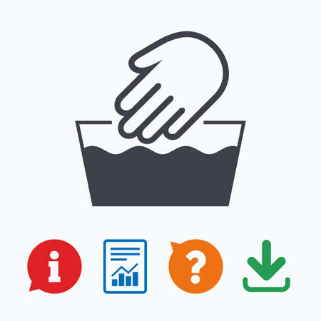 Hand wash sign icon. Not machine washable symbol. Information think bubble, question mark, download and report. 向量圖像