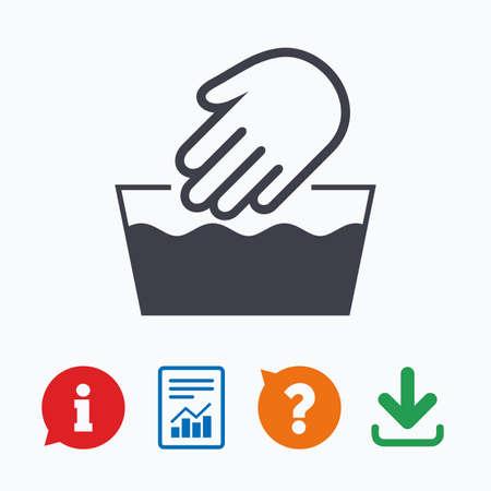 Handwäsche Zeichen-Symbol. Nicht maschinenwaschbar Symbol. Informationen denken Blase, Fragezeichen, Download und Bericht.