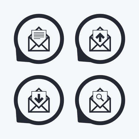 outbox: Mail envelope icons. Find message document symbol. Post office letter signs. Inbox and outbox message icons. Flat icon pointers.