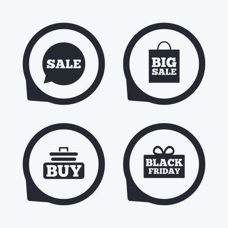 Sale Speech Bubble Icons. Buy Cart Symbols. Black Friday Gift ...