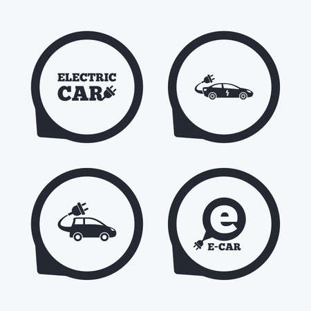 electric vehicles: Electric car icons. Sedan and Hatchback transport symbols. Eco fuel vehicles signs. Flat icon pointers.