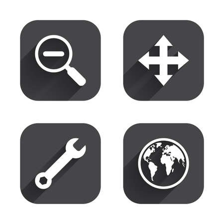 fullscreen: Magnifier glass and globe search icons. Fullscreen arrows and wrench key repair sign symbols. Square flat buttons with long shadow.