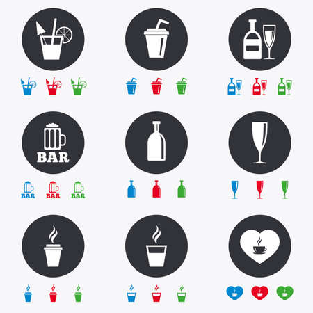 Beer, coffee and tea icons. Beer, wine and cocktail signs. Soft and alcohol drinks symbols. Flat circle buttons with icons. Illustration
