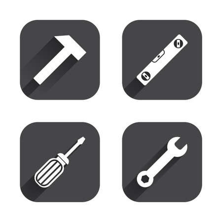Screwdriver and wrench key tool icons. Bubble level and hammer sign symbols. Square flat buttons with long shadow. Illustration