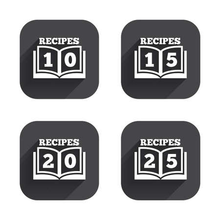 15 20: Cookbook icons. 10, 15, 20 and 25 recipes book sign symbols. Square flat buttons with long shadow. Illustration