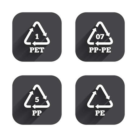 PET 1, PP-pe 07, PP 5 and PE icons. High-density Polyethylene terephthalate sign. Recycling symbol. Square flat buttons with long shadow. Illustration