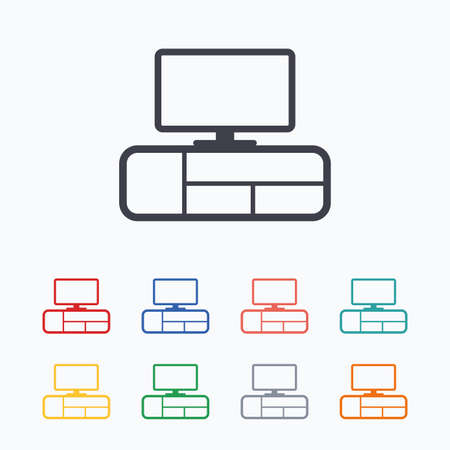 modern furniture: TV table sign icon. Modern furniture symbol. Colored flat icons on white background.