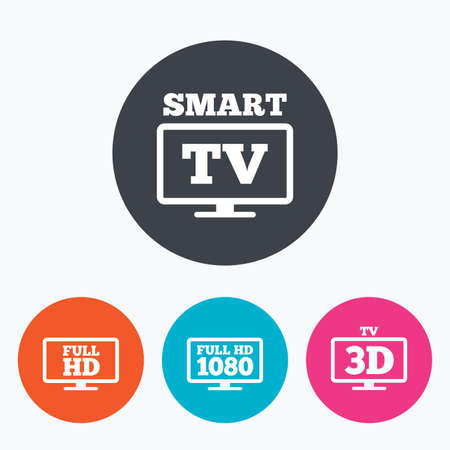 3d mode: Smart TV mode icon. Widescreen symbol. Full hd 1080p resolution. 3D Television sign. Circle flat buttons with icon.