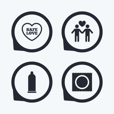 sex positions: Condom safe sex icons. Lovers Gay couple signs. Male love male. Heart symbol. Flat icon pointers.