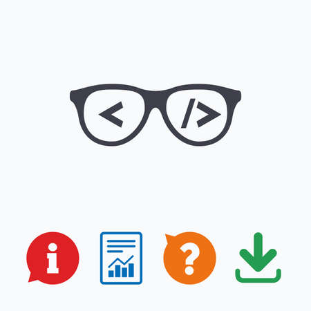 coder: Coder sign icon. Programmer symbol. Glasses icon. Information think bubble, question mark, download and report.