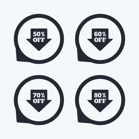 60 70: Sale arrow tag icons. Discount special offer symbols. 50%, 60%, 70% and 80% percent off signs. Flat icon pointers. Illustration