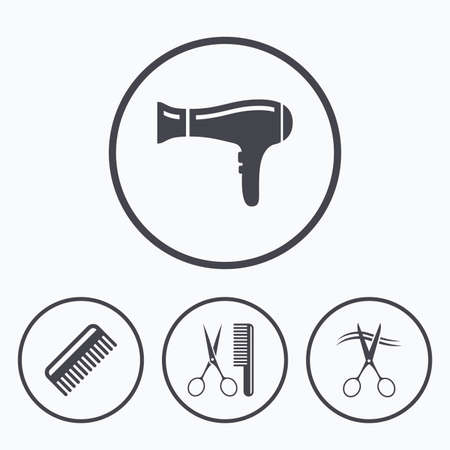 comb hair: Hairdresser icons. Scissors cut hair symbol. Comb hair with hairdryer sign. Icons in circles.