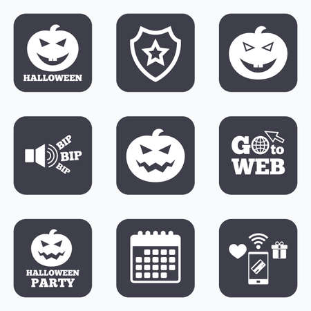 hallows: Mobile payments, wifi and calendar icons. Halloween pumpkin icons. Halloween party sign symbol. All Hallows Day celebration. Go to web symbol.