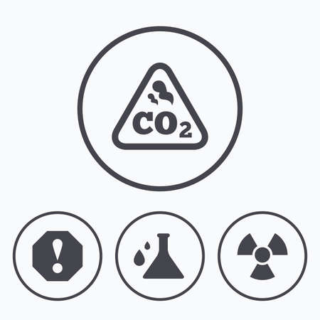 danger carbon dioxide  co2  labels: Attention and radiation icons. Chemistry flask sign. CO2 carbon dioxide symbol. Icons in circles.