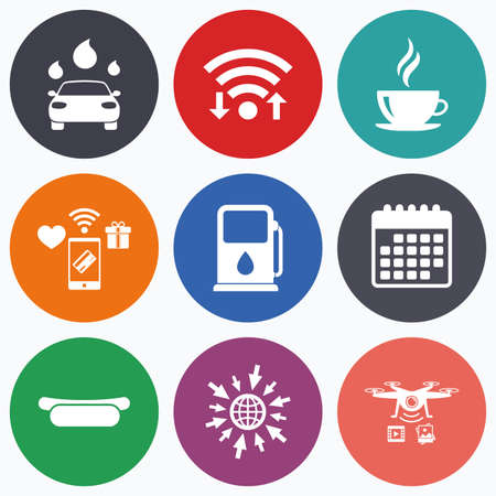 automated: Wifi, mobile payments and drones icons. Petrol or Gas station services icons. Automated car wash signs. Hotdog sandwich and hot coffee cup symbols. Calendar symbol. Illustration