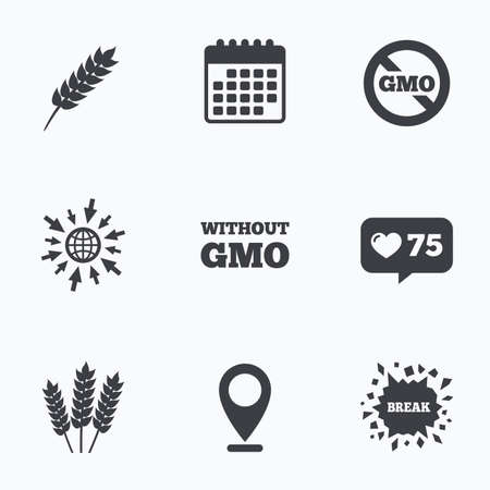 genetically modified crops: Calendar, like counter and go to web icons. Agricultural icons. Gluten free or No gluten signs. Without Genetically modified food symbols. Location pointer.
