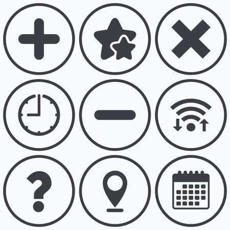 enlarge: Clock, wifi and stars icons. Plus and minus icons. Delete and question FAQ mark signs. Enlarge zoom symbol. Calendar symbol.