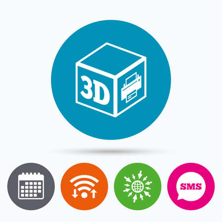 additive: Wifi, Sms and calendar icons. 3D Print sign icon. 3d cube Printing symbol. Additive manufacturing. Go to web globe.