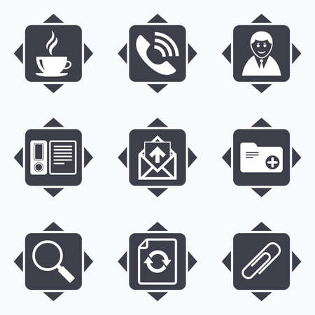 office buttons: Icons with direction arrows. Office, documents and business icons. Coffee, phone call and businessman signs. Safety pin, magnifier and mail symbols. Square buttons. Illustration