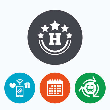 travel star: Five star Hotel apartment sign icon. Travel rest place symbol. Mobile payments, calendar and wifi icons. Bus shuttle.