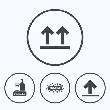 this side up: Fragile icons. Delicate package delivery signs. This side up arrows symbol. Icons in circles. Illustration