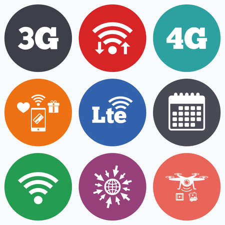 long term: Wifi, mobile payments and drones icons. Mobile telecommunications icons. 3G, 4G and LTE technology symbols. Wi-fi Wireless and Long-Term evolution signs. Calendar symbol.