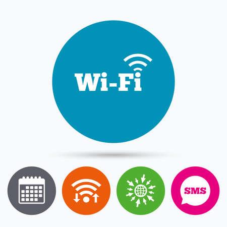 Wifi, SMS y calendario iconos. señal wifi gratuito. wifi símbolo. icono de red inalámbrica. Zona Wifi. Ir a la Web del globo.