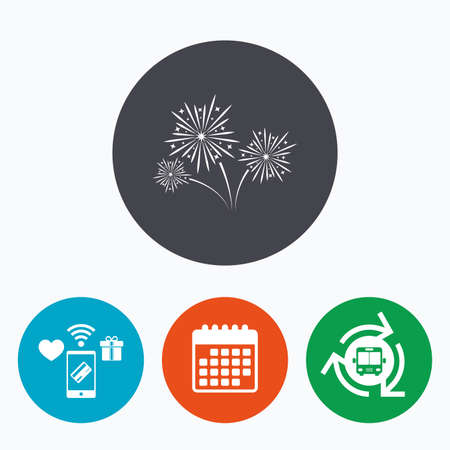 pyrotechnic: Fireworks sign icon. Explosive pyrotechnic show symbol. Mobile payments, calendar and wifi icons. Bus shuttle.