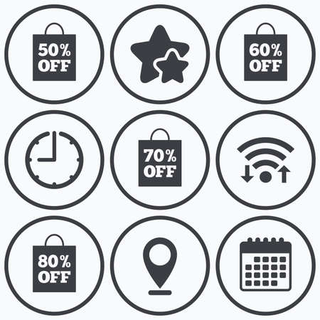 50 to 60: Clock, wifi and stars icons. Sale bag tag icons. Discount special offer symbols. 50%, 60%, 70% and 80% percent off signs. Calendar symbol.