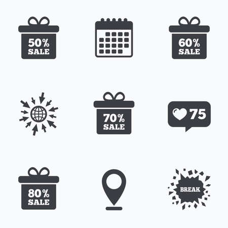 60 70: Calendar, like counter and go to web icons. Sale gift box tag icons. Discount special offer symbols. 50%, 60%, 70% and 80% percent sale signs. Location pointer. Illustration