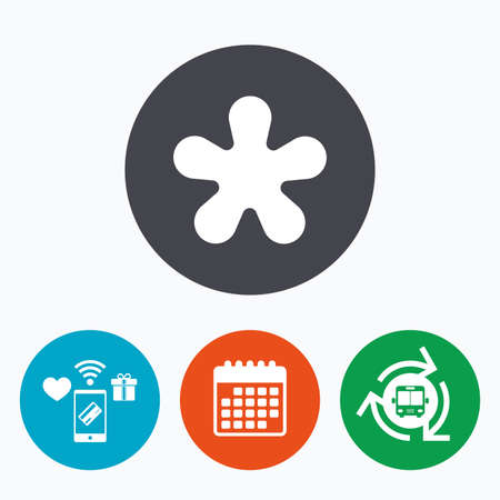 more information: Asterisk round footnote sign icon. Star note symbol for more information. Mobile payments, calendar and wifi icons. Bus shuttle. Illustration