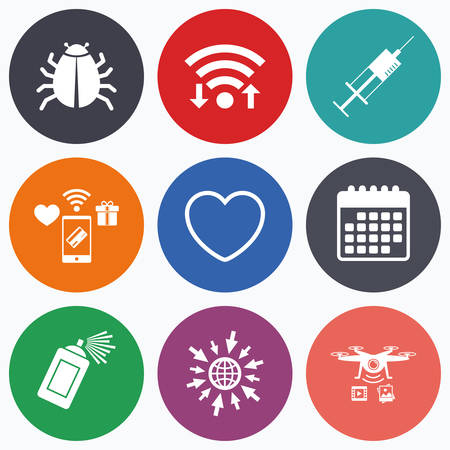 syringe injection: Wifi, mobile payments and drones icons. Bug and vaccine syringe injection icons. Heart and spray can sign symbols. Calendar symbol.