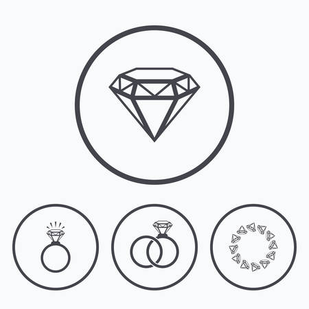 fiance: Rings icons. Jewelry with shine diamond signs. Wedding or engagement symbols. Icons in circles.
