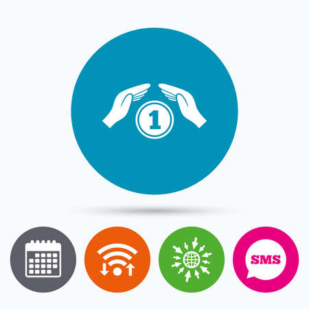 protect globe: Wifi, Sms and calendar icons. Protection money sign icon. Hands protect coin symbol. Money or savings insurance. Go to web globe. Illustration