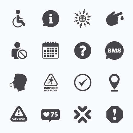notify: Calendar, go to web and like counter. Attention notification icons. Question mark and information signs. Injury and disabled person symbols. Sms speech bubble, talk symbols. Illustration