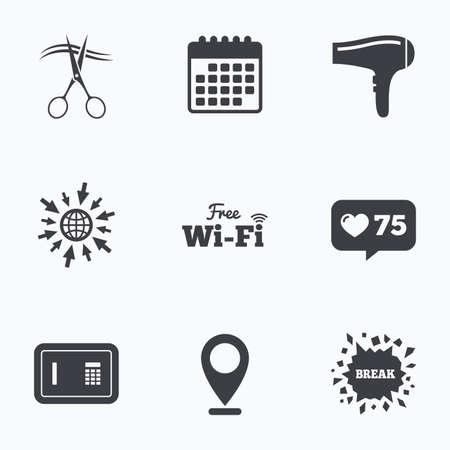 Symbole Für Hotelservices. WLAN, Haartrockner Im Zimmer. Drahtloses ...