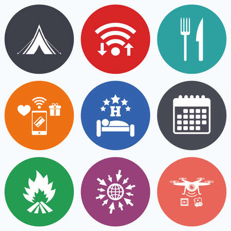 breakfast in bed: Wifi, mobile payments and drones icons. Food, sleep, camping tent and fire icons. Knife and fork. Hotel or bed and breakfast. Road signs. Calendar symbol.