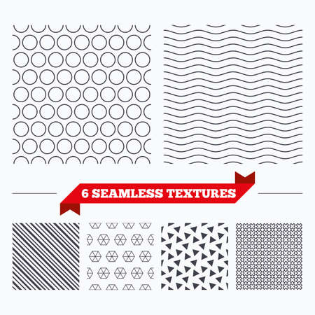 texturing: Diagonal lines, waves and geometry design. Circles texture. Stripped geometric seamless pattern. Modern repeating stylish texture. Material patterns.