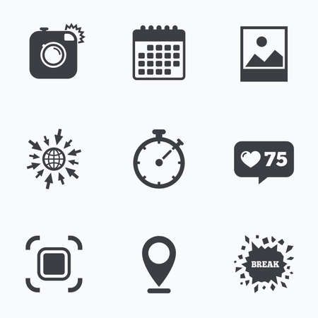 autofocus: Calendar, like counter and go to web icons. Hipster retro photo camera icon. Autofocus zone symbol. Stopwatch timer sign. Landscape photo frame. Location pointer.
