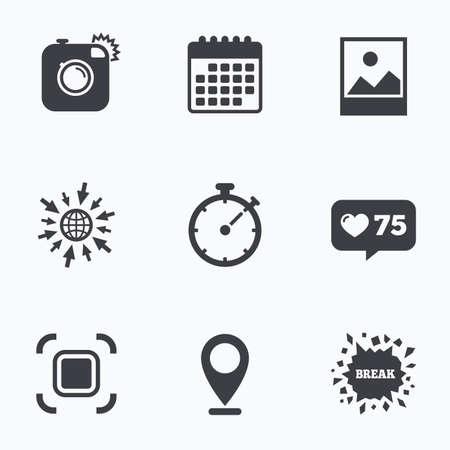 auto focus: Calendar, like counter and go to web icons. Hipster retro photo camera icon. Autofocus zone symbol. Stopwatch timer sign. Landscape photo frame. Location pointer.